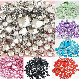 rhinestone nail art designs Coupons - Wholesale-Clear Mixed Size Shape Flat Back Rhinestone 1100PCS 3D Acrylic Flatback Rhinestones DIY Phone case Nail art design deco supplies