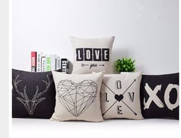 Wholesale Simple Linen Cushion Cover - Simple Casual Style Star Pattern Cushion Cover Black and white Cotton Linen Pillow Cover Cushion Cover Pillow Case Home Decor