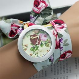 Wholesale New Flower Girl Dresses Wholesale - New 2016 Fashion Casual Ladies Flower Cloth Wrist Watch Women Dress Watches Sweet Girls Bracelet montre femme Quartz Clock Relogio