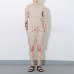 Wholesale Knee Length Rompers - Wholesale-Summer 2016 new men one piece rompers shorts men fashion casual short sleeve tees shirt Jumpsuits shorts overalls K988