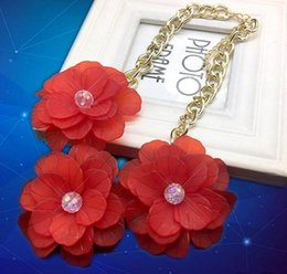 Wholesale Chunky Flower Necklaces - 2016 Fashion 3 Crystal Acrylic Flower Necklaces Clavicle Chain Choker Gold Plated Chunky Chain Statement Choker Necklace Jewelry Accessories