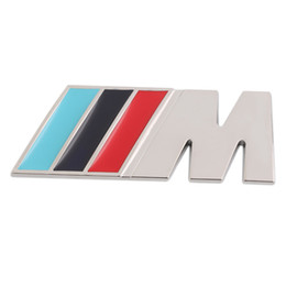 Distintivo della griglia anteriore online-3M M Series Big Mpower M-tech su Car Trunk Badge Emblem 3D Pure Metal Front griglia Griglia Sticker logo /// M M3 M5 per BMW Car Styling Sticker