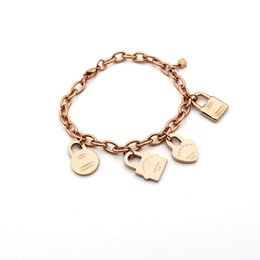 lock bracelets Promo Codes - Wholesale trade sales letter T titanium steel bracelet hanging lock heart bracelet round 18k gold bracelet trade