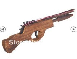Wholesale Band Toy - New Arrive Wooden Rubber Band Double-barreled Gun Toy For Children toy rubber band gun gun toy
