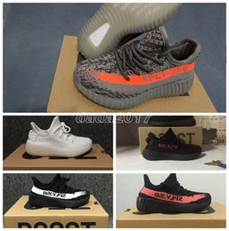 Wholesale Clay Girl - Newest SPLY 350 Boost V2 Zebra Bred Cream White Baby Kids Shoes Kanye West Season Boys Girls Sneakers Children Athletic Shoes Black Red