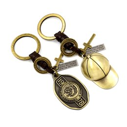 Wholesale Personalized Cap Hat - 2016 Creative Metal Hat Key Rings Genuine Leather Braid Cap Keychain kKyring Personalized Small Gifts Activities Presented small commodities