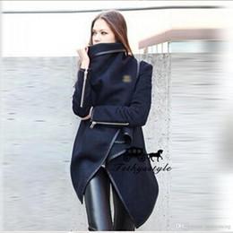 Wholesale Pleated Skirt Irregular - Woolen Foreskin Skirt Irregular Loose Black Coat Warm Zipper Decoration Overcoat Women Winter For Dress