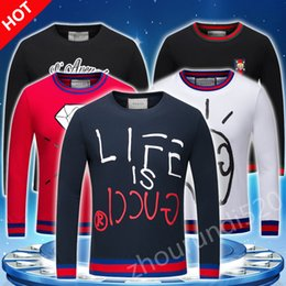 Wholesale T Sweater Men - New men sweater sets of round neck flower casual men black Long sleeved T-shirt variety of styles available M-3XL