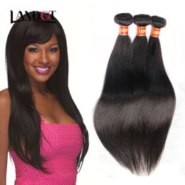 Wholesale 18 Inch Remy Hair Extensions - Peruvian Indian Malaysian Mongolian Cambodian Brazilian Virgin Straight Hair Weave Bundles Cheap Remy Human Hair Extensions Natural Black 1B