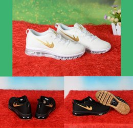 Wholesale Cheap Shoes Line - Free Shipping Fly lines Air Magic Cushion Running Shoes Mens Womens Sneakers Black Gold White Gold Cheap High Quality Sports Shoes