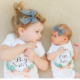 Wholesale Little Sister Shirt - Ins Summer Baby Girl Short Sleeve ''big sister'' Letters White T-Shirts Infant Girl ''little brother''Letters white triangle rompers