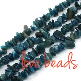 Wholesale Stone Bead Chips Bracelets - 5mm-8mm Natural Apatite Gravel Stone Loose Beads Chips Beads Strand 80cm wholesale Diy Bracelet (F00317) wholesale
