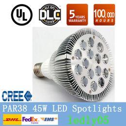 Wholesale Led Par38 Flood Lights - Dimmable LED PAR38 FLOOD LIGHT led bulb par38 BULBs E27 45W 15x3W CREE chip LED spotlight WARM WHITE COOL WHITE CE UL ROHS