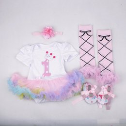 Wholesale Champagne Colour Shoes - baby girl toddler 4piece set outfits princess Number 1 crown romper tutu diaper covers bloomers + legging leg warmer + headband + shoes 3set