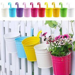 Wholesale Wall Hanging Flower Holders - Garden Decoration Supplies Pastoral Balcony Pots Planters Wall Hanging Metal Iron Bucket Flower Holders 9 Colors E498E