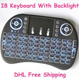 Wholesale R Keyboard - Rii I8 Smart Fly Air Mouse Remote Backlight 2.4GHz Wireless Keyboard Remote Control Touchpad For Android TV Box R Box mini keyboard