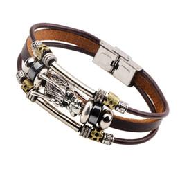 Wholesale Chinese Bracelets Men - Silver Chinese Dragon Bracelet Multilayer Wrap Leather Bangle Cuff Wristband Women Men Fashion Jewelry Christmas Gift Drop SHipping