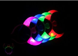Wholesale Wholesale Plastic Bow Supplies - Led horns glowing headband Christmas gifts festive dance supplies