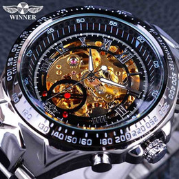 Wholesale Black Automatic Skeleton Mechanical - Winner Classic Series Golden Movement Inside Silver Stainless Steel Sport Mens Watch Top Brand Fashion Luxury Skeleton Mechanical Watch