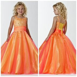 Wholesale Cheap Pink Kids Prom Dresses - Orange Cute Girls Pageant Gowns Square Neck Princess Beaded Sequins Floor Length Kids Formal Wedding Party Dresses Cheap Custom Made Prom