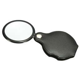 Wholesale Foldable Magnifying Glass - Wholesale-Hot Sale!! Portable Mini Black 45mm 10x Hand-Hold Reading Magnifying Magnifier Lens Glass Foldable Jewelry Loop Jewelry Loupes