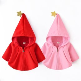 Wholesale Kids Hats Fashion Star - New Baby Girls Coat Star Christmas Children Outwear Fashion Xmas Hat Kids Shawl Hooded Cute Girl Princess Poncho C1960