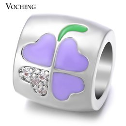 Wholesale VOCHENG Endless Charms Lucky Hand Painted Inlaid CZ Stone Copper Metal Gold Platinum Plated Interchangeable Jewelry VC