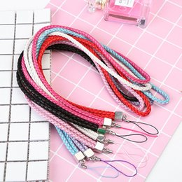 Wholesale Neck Strap Lanyard Leather - Quick Release PU Leather Neck Lanyards Braided Straps for USB Flash Drives  Camera  Cell Phone  Keys Keychains  ID Name Tag Badge Holders
