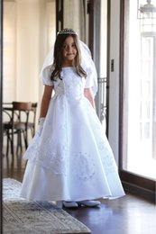 Wholesale Purple Satin Overlay - Free Shipping Beautiful Floor Length Bridal Satin Dress with An Embroidered Organza Overlay Communion Dress Dress Wholesale Price
