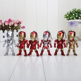 Wholesale Super Heros Action Figures Set - 6pcs set 9cm Super Heros Mini Egg Attack Iron Man 3 MK2-6 MK42 PVC Action Figure Collection Toy 1206#06