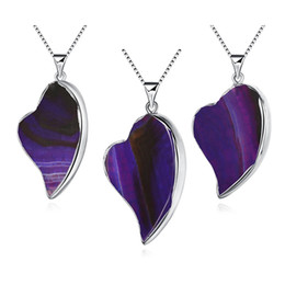 Wholesale Heart Shaped Agate Stone - Wholesale Jewelry Necklace Setls Natural Stone Japan and South Korea Selling Heart-Shaped Purple Natural Agate Necklace