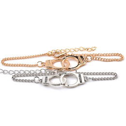 Wholesale number hands - Fashion Freedom Handcuff Bracelet Silver Gold Hand Cuff Chain Bangle wristband Jewelry for Women Men Drop Shipping