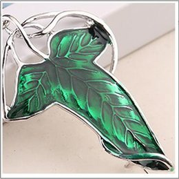 Wholesale pins movie - Elven Pin Brooch Movie Lord of The Rings Leaf Brooch Necklace Green Leaf Jewelry Chain Necklace DHL
