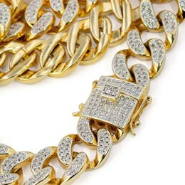 Wholesale Triple Gold Necklace - 20 24 30 Inches Top Quality Full Bling Zirconia Triple Lock Luxury Necklace Fashion Hiphop Choker Necklaces Jewelry 14mm Cuban Link Chain