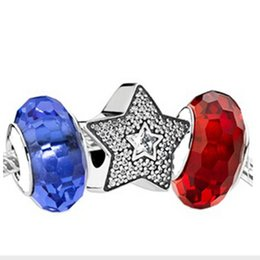 Wholesale Sterling Silver Fireworks Charm - DIY Jewelry Sets 925 Sterling Silver Loose Charm & Murano Glass Lampwork Bead Set Fits European Pandora Bracelets & Necklaces-Fireworks