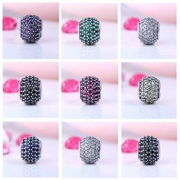 Wholesale Pave Charms - Real 925 Sterling Silver Not Plated Pave CZ Charm European Charms Beads Fit Pandora Snake Chain Bracelet DIY Jewelry