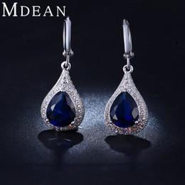 Wholesale Navy Blue Gold Earrings - Wholesale- MDEAN White Gold Navy Blue Color AAA Zircon Earrings For Women Luxury Style Jewelry MSE020