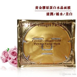 Wholesale Wholesale Gel Face Mask - free shipping Gold Powder Collagen Crystal Facial Mask Anti-Aging Gel Moisture Face Mask
