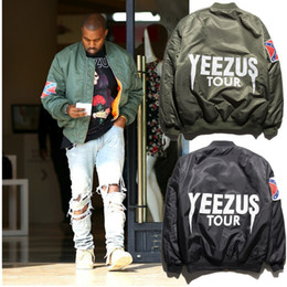Wholesale Army Pattern Jacket - Ma1 Bomber Jacket 2016 Big Sam Kanye West Yeezus Tour Pilot Outerwear Men Army Green Merch Flight Coat