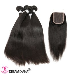 Wholesale Hand Tied Weave - Peruvian Virgin Hair Bundles With Closure Human Hair Extensions Straight Weave With Closure Density 130% Hand Tied