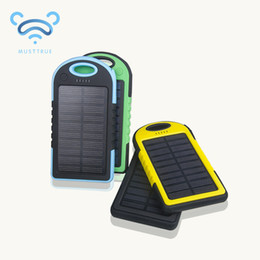 Wholesale Solar Panel Batteries Wholesale - Universal 5000mAh Solar Charger Waterproof Solar Panel Battery Chargers for Smart Phone PAD Tablets Camera Mobile Power Bank Dual USB 50pcs