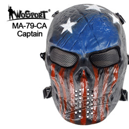 Wholesale Skull Mask Paintball - WoSporT Tactical Mask Hood Airsoft Paintball Steel Skull Full Face Mask Protective Halloween Party Masks Field Wargame Cosplay Movie CS Prop