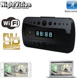 Wholesale Wireless Spy Hidden Cameras Clock - Micro Clock Cam HD 1080P 720P Wireless Wifi IP Spy Hidden Camera Motion Detect Security Clock Cam IR