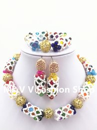 Wholesale Colorful Beaded Earrings - 2016 new Fashion white colorful Crystal Beaded Balls African Jewelry Set African Party Jewelry Set Lady Gift Beads Free Shipping