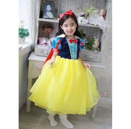 Wholesale Snow White Cartoon Girls - Halloween Hallowmas Snow White Princess Dresses Kids Dress Children Cartoon Dresses Short Sleeve Girls Fashion Dress 12216