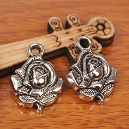 Wholesale Silver Rose Bracelet Earrings Necklace - Hualu 7233 100 Pieces 20*14mm 3D Rose Flower Connecter Charms Tibetan Silver DIY Jewelry Pendant Making Fingding necklace Bracelet Earring