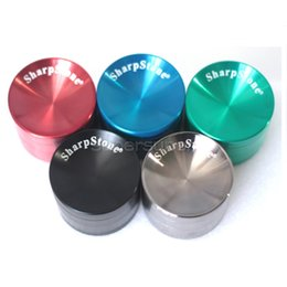 Wholesale Grinder Tabacco - 1 pc 55mm Concave Grinder with sharp stone logo Metal Grinder 4 Pieces Tabacco Grinder Concave Surface Zinc Alloy vs sharpstone grinders
