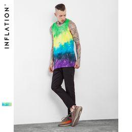 Wholesale Tie Dye Shirts For Men - Wholesale- INFLATION 2017 New Arrivels High Street Men T Shirt Hip Hop Tees Men's Tie Dye Tank Urban Streetwear Tank Top For Men