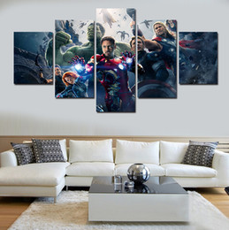 Wholesale Giant Art Prints - 5 Pieces Free Shipping Popular Hot Green Giant Posters Avengers Modern Wall Painting Home Wall Art Picture Paint On Canvas Prints