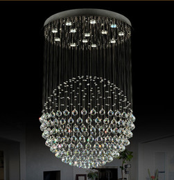 Wholesale Modern Lobby Light - Modern Staircase LED Crystal Chandeliers Lighting Fixture for Hotel Lobby Foyer Ball Shape Rain Drop Pendants